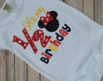 Its My Half Birthday Bodysuit, Embroidered, Mouse Head, Bows, Personalized