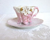 Demitasse Cup Pink Antique German Porcelain Gold Trim Flowers 1900s