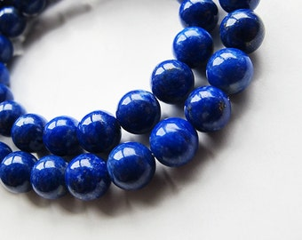 Natural lapis lazuli beads, 6mm round, deep blue color, 16 inch strand