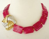 Cherry Red Gemstone Statement Necklace, Agate Necklace, Bold Chunky, Asymmetrical Repurposed Brooch, Artisan Necklace
