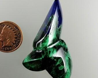 Azurite and Malachite Chatoyant 100% Natural Hand Cut Cabochon from Arizona, free U.S. shipping Stock#B1683