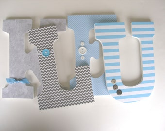 Baby Name Wooden Letters - Gray and Light Blue - Personalized Nursery Name Décor - Baby Shower Gift