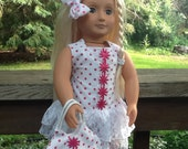 Lacy Red and White Polka Dot Dress with Purse to fit 18 Inch Doll like American Girl, Christmas gift, girls gift, girls toy