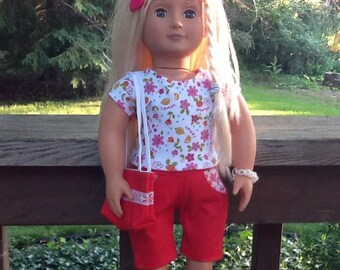 18 Inch Doll Clothes Red and White Bermuda Shorts Outfit