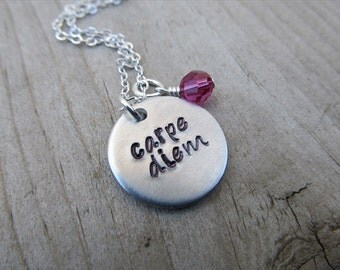 """Carpe Diem Inspiration Necklace- """"carpe diem"""" with an accent bead in your choice of colors- Hand-Stamped Jewelry"""