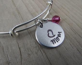 """Mom Bracelet- Gift for Mom- Hand-Stamped Bracelet- """"Mom"""", stamped heart, and an accent bead of choice"""