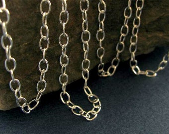 Sterling Silver Medium Cable  Chain - Charm Bracelet or Sturdy Necklace Chain   5mm x 3.7mm Oval Links  CH44-18in