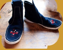 Suede Royal Blue Leather Moccasins  Size 7