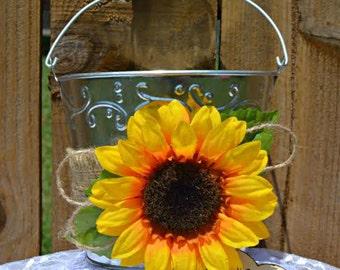 Sunflower Bucket, Flower Girl Bucket, Sunflower Pail, Sunflower Wedding, Sunflower Flower Girl Basket, Personalized flower girl bucket