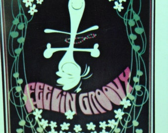 Feelin' Groovy Snoopy Poster - 1960s - mint condition - in original packaging