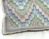 Reserved for Gregorio: Bargello needlepoint throw pillow pastel rectangular pillow pink blue mint lavender