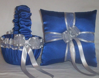 Blue Horizon Satin With Silver Satin Ribbon Trim Flower Girl Basket And Ring Bearer Pillow Set 1