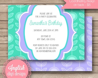 Printable Floral Birthday Party Invitation, Floral Birthday Party Invite, Floral Party Invite - Mod Floral in Teal, Purple, Blue