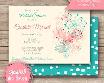 Dandelion Bridal Shower Invite, Printable Dandelion Bridal Shower Invitation - Funky Dandelions in Red, Pink, Teal, Turquoise
