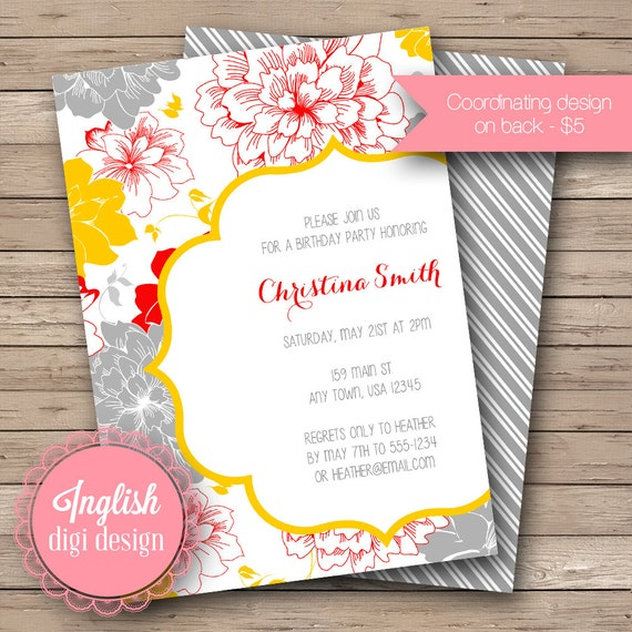 Printable Floral Birthday Party Invitation, Floral Birthday Party Invite, Flower Birthday Party - Vivid Blooms in Mustard Yellow, Red, Gray