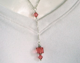 Coral Swarovski crystal Y-necklace