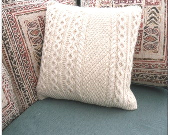 Recycled Wool Cushion / Pillow Throw . Knitted cream cable cover with dark brown wooden buttons . Upcycled home decor , cable knit , OOAK