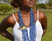 African Cobalt Blue Masai neckalce,Blue Statement necklace,Chunky Masai Beaded Necklace