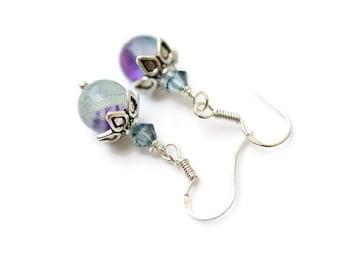 Fluorite Earrings, Fluorite and Swarovski Earrings, Sterling Silver Earrings, Purple & Green Earrings