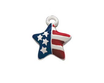 Silver Plated, Enameled, USA Patriotic Star Charm, Qty.1