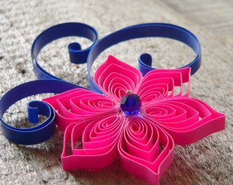 Royal Blue and Hot Pink Wedding Boutonnieres, Fuchsia, Cobalt, Bright Wedding