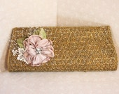 Vintage Gold Beaded Clutch Bag With Rose Corsage, Bridal Clutch Bag, Maid of Honor Clutch, Dusky Rose Corsage Bag,Sparkly Clutch Bag