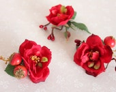 50% off marked price use code DIS50 - Set of three red rose hair clips, floral clips, flower hair clips,bridesmaids clps, wedding hair clips