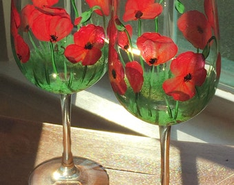 Hand-painted Wine Glasses - red poppies - set of 2