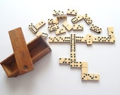 Antique French Bone and Ebony Dominos in Wood Box