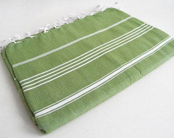 SALE 30 OFF / Classic Blanket / Green/ Beach blanket, Picnic blanket, Sofa throw, Tablecloth, Bedcover