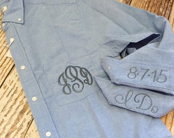 Monogrammed bride shirt with date and I do, monogrammed bridesmaid, button up, personalized wedding day shirt