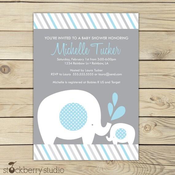 girl elephant baby shower invitation printable by stockberrystudio
