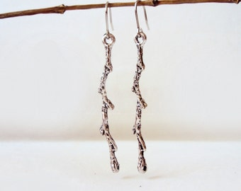 Silver Twig Earrings, Branch Earrings, Minimalist, Woodland, Botanical, Metal Twigs, Long earrings, Nature Jewelry, Forest, Everyday Jewelry