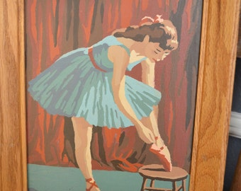 Pair Two 2 Vintage Paint By Number Paintings Ballerina Vintage Picture Pair Women Teal Red Blue Art Wood Framed Wall Hanging Mid Century