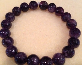 Dark Purple Amethyst 10mm Bead Bracelet with Sterling Silver Accent