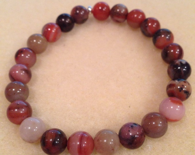 Orange River Jasper 8mm Round Bead Stretch Bracelet for Relaxation Protection and Crystal Healing
