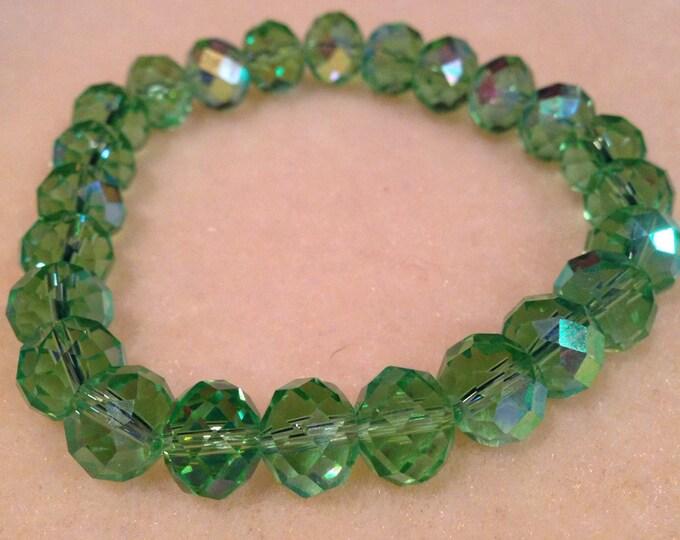 Faceted Grass Green Aurora Borealis Crystal Bead Stretch Bracelet - Rainbow Sparkle