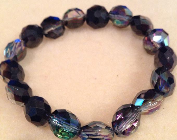 Black Bronze Purple Green Mystic Aurora Borealis Faceted Glass Bead Stretch Bracelet