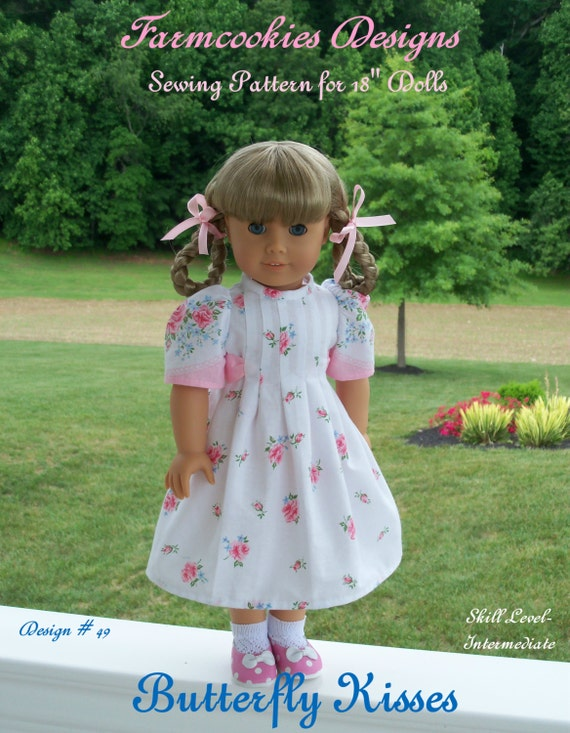 PDF  Sewing PATTERN / Butterfly Kisses / Vintage Style Pattern for American Girl Maryellen, Kit, Molly