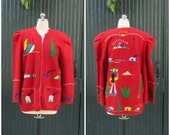 MY MEXICAN WEEKEND 1950's Mexican Souvenir Tourist Embroidered Jacket    Medium/Large