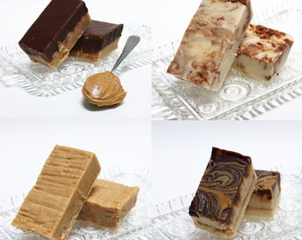Peanut Butter Lovers' Fudge - Peanut Butter Fudge, Chocolate PB Fudge, Tiger Butter Fudge, Butterfinger Fudge, 2 pounds of fudge