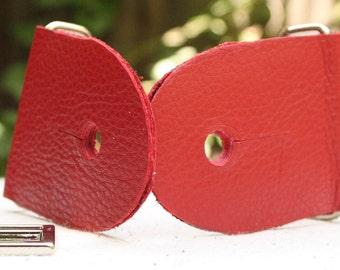 """2"""" Red Guitar Strap Kit - Leather Ends - Nickel slider"""