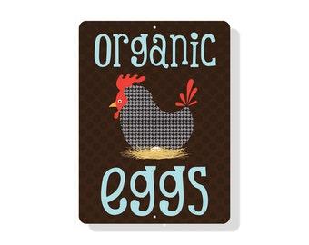 "Organic Eggs Sign 9"" X 12"" Chocolate"