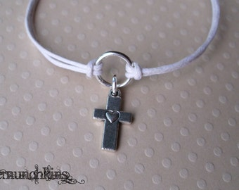 Cross with Heart Circle of Life Bracelet or Anklet, Christian Religious Wax Cord Bracelet, made in USA