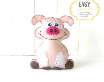 Pig Stuffed Animal Sewing Pattern, Plush Pig Sewing Pattern, Felt Pig Pattern, Instant Download PDF, Pig Plushie, Pig Softie