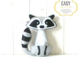 Raccoon Stuffed Animal Pattern, Felt Hand Sewing Raccoon Plushie Pattern, Raccoon Softie Pattern, Instant Download PDF