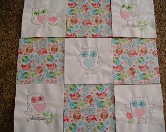 quilt blocks machine embroidered quilt blocks  Set of 9 owl blocks  quilt blocks embroidered quilt squares