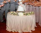 """Custom Gathered Round Tablecloth - Romantic Wedding Special Event Table Decor - Understated Elegance - Large Table (45-54"""" diameter)"""