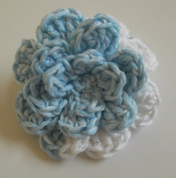 Ponytail Holder, Blue White Ponytail Holder, Hair Ties, Crocheted Flower Ponytail Holder, Summer Accessory, Pigtail Ties