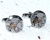 TISSOT Steampunk Men Cufflinks - Luxury Swiss Silver Vintage Watch Movement Men Steampunk Cufflinks / Cuff links Wedding Men Christmas Gift